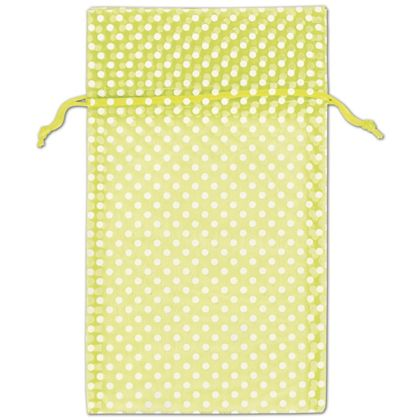 Lime Green Polka Dot Organdy Bags, 6 x 10