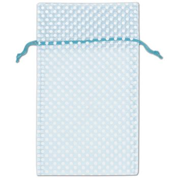Light Blue Polka Dot Organdy Bags, 6 x 10