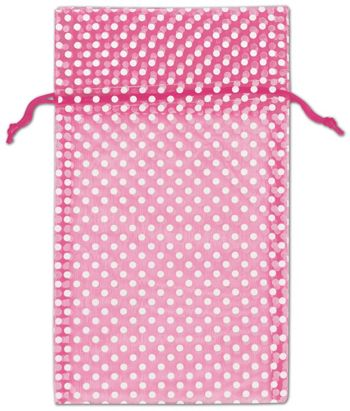 Hot Pink Polka Dot Organdy Bags, 6 x 10