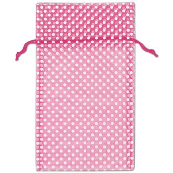 Hot Pink Polka Dot Organdy Bags, 6 x 10""