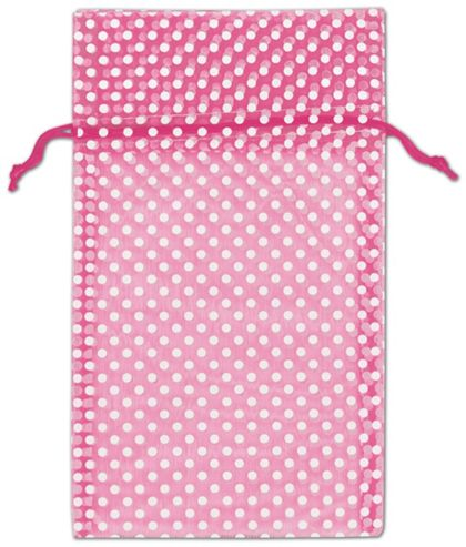 "Hot Pink Polka Dot Organdy Bags, 6 x 10"""