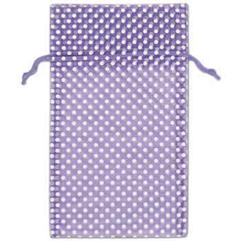 Purple Polka Dot Organdy Bags, 6 x 10