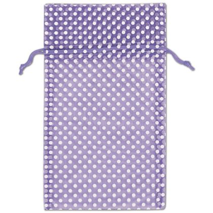 Purple Polka Dot Organdy Bags, 6 x 10""