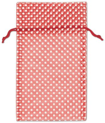 Red Polka Dot Organdy Bags, 6 x 10