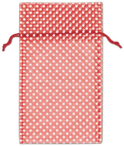 Red Polka Dot Organdy Bags, 6 x 10""
