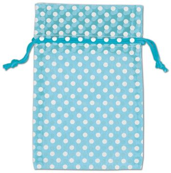 Teal Polka Dot Organdy Bags, 6 x 10