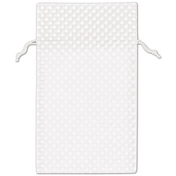 White Polka Dot Organdy Bags, 6 x 10