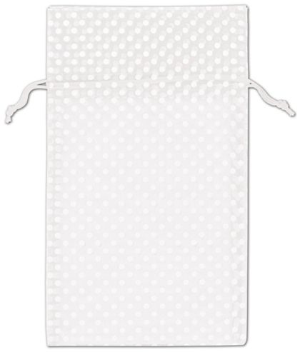 White Polka Dot Organdy Bags, 6 x 10""