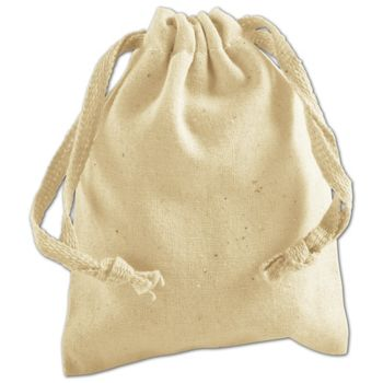 Tan Cotton Cloth Bags, 3 x 4""