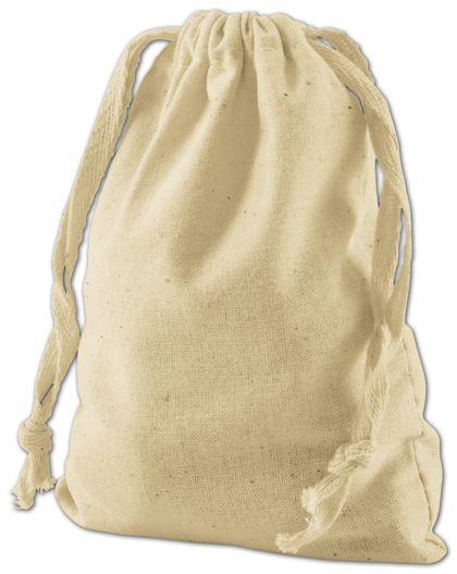 "Tan Cotton Cloth Bags, 4 x 6"""