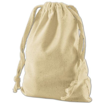 Tan Cotton Cloth Bags, 4 x 6