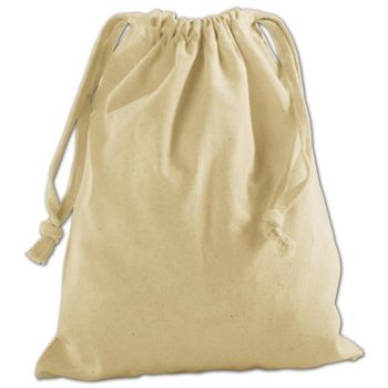 Tan Cotton Cloth Bags, 8 x 10""