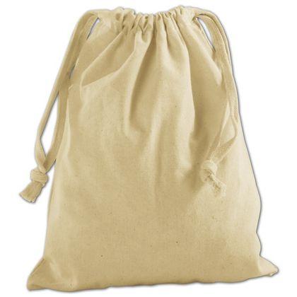 "Tan Cotton Cloth Bags, 8 x 10"""