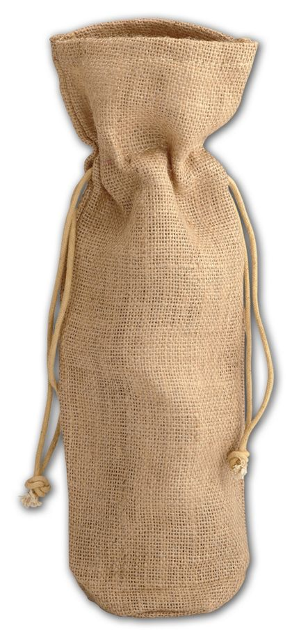 Tan Natural Jute Wine Bags, 6 x 3 1/2 x 15""