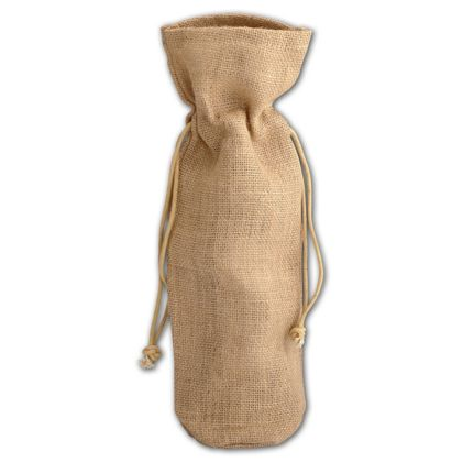 Tan Natural Jute Wine Bags, 6 x 3 1/2 x 15