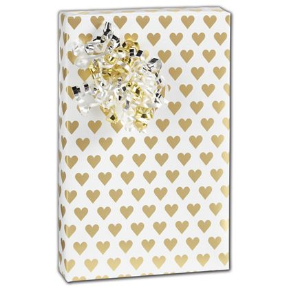 "Golden Hearts Gift Wrap, 30"" x 208'"
