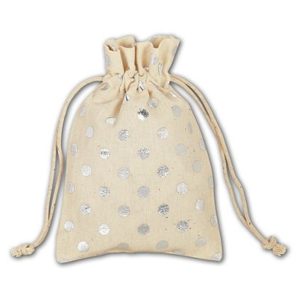 Silver Metallic Dots Cloth Pouches, 3 1/2 x 5