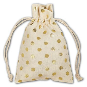 Gold Metallic Dots Cloth Pouches, 3 1/2 x 5