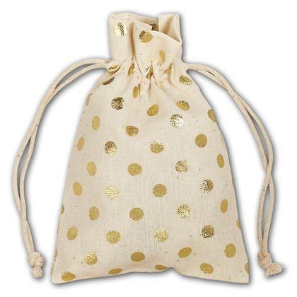 "Gold Metallic Dots Cloth Pouches, 3 1/2 x 5"""