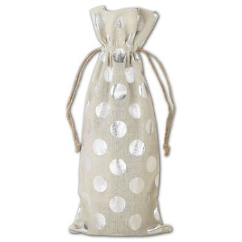 Silver Metallic Dots on Tan Wine Cloth Bags, 6 x 14""