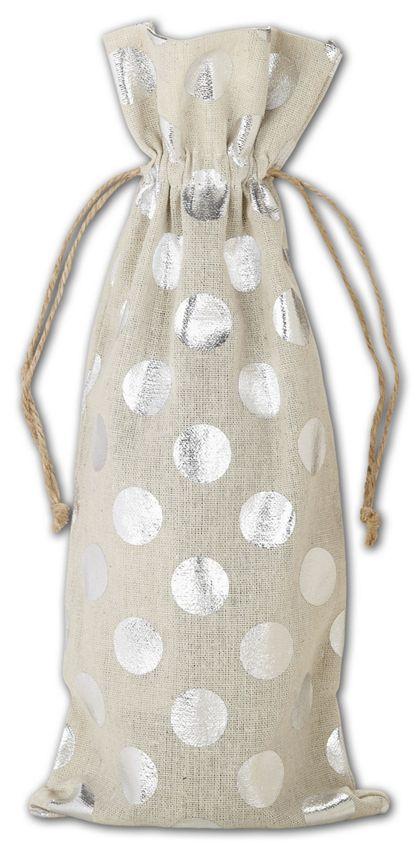 """Silver Metallic Dots on Tan Wine Cloth Bags, 6 x 14"""""""