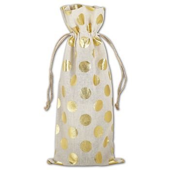 Gold Metallic Dots on Tan Wine Cloth Bags, 6 x 14""