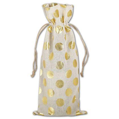 """Gold Metallic Dots on Tan Wine Cloth Bags, 6 x 14"""""""