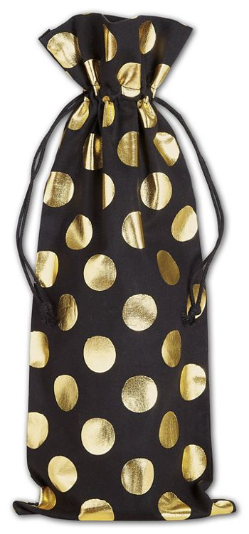 Gold Metallic Dots on Black Wine Cloth Bags, 6 x 14