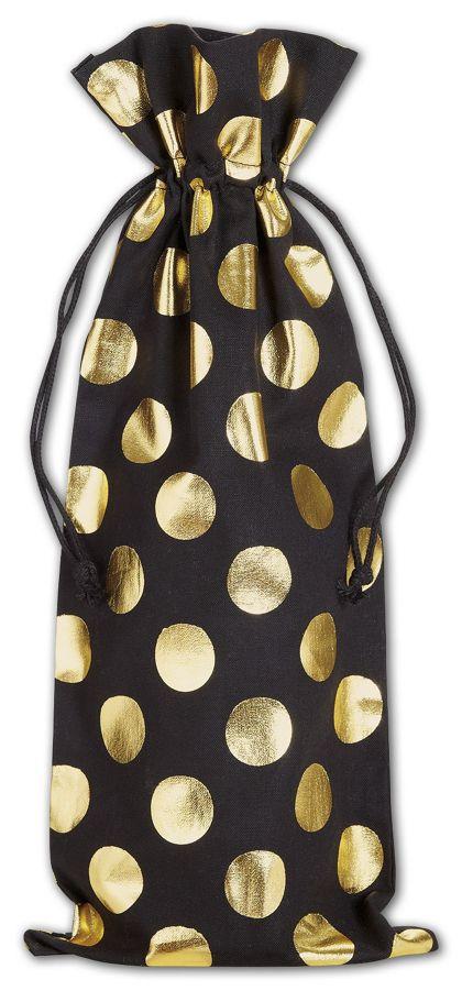 "Gold Metallic Dots on Black Wine Cloth Bags, 6 x 14"""