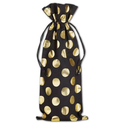 Gold Metallic Dots on Black Wine Cloth Bags, 6 x 14