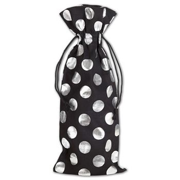 Silver Metallic Dots on Black Wine Cloth Bags, 6 x 14