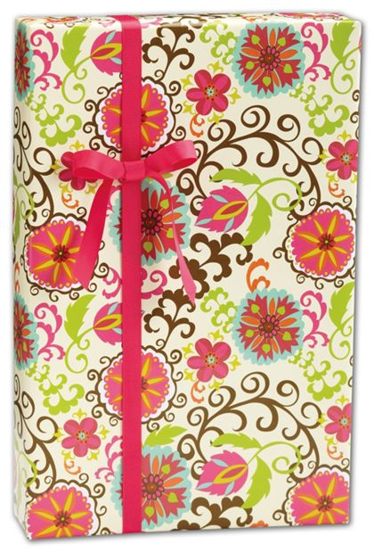 "Happy Flower Gift Wrap, 24"" x 208'"
