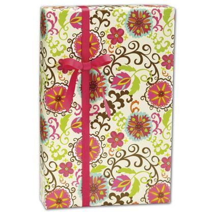 """Happy Flower Gift Wrap, 30"""" x 208'"""