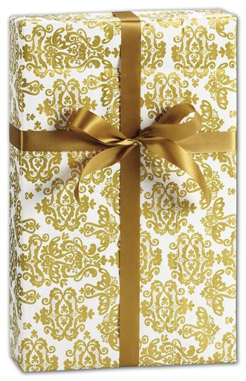 Damask Gold Gift Wrap, 30