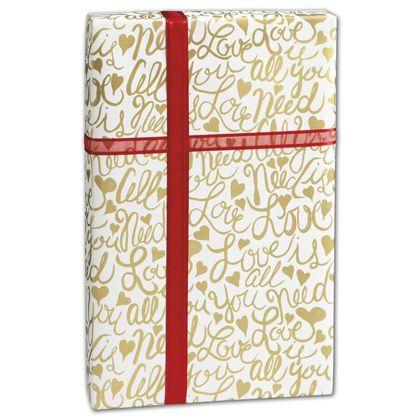 """Brushscript Gold Gift Wrap, 30"""" x 417'"""