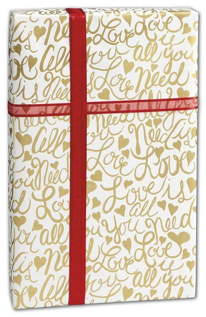 """Brushscript Gold Gift Wrap, 30"""" x 208'"""