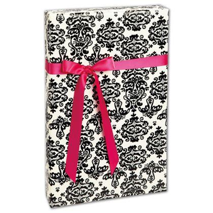 "Black Damask Gift Wrap, 24"" x 417'"