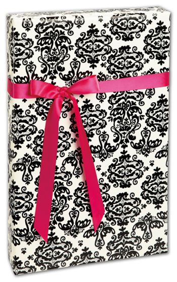Black Damask Gift Wrap, 24