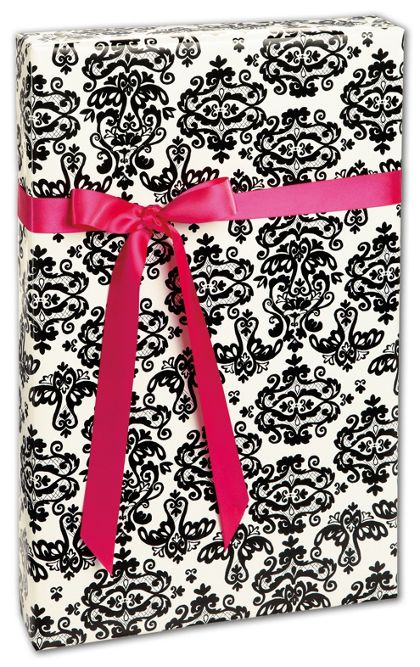 "Black Damask Gift Wrap, 24"" x 208'"