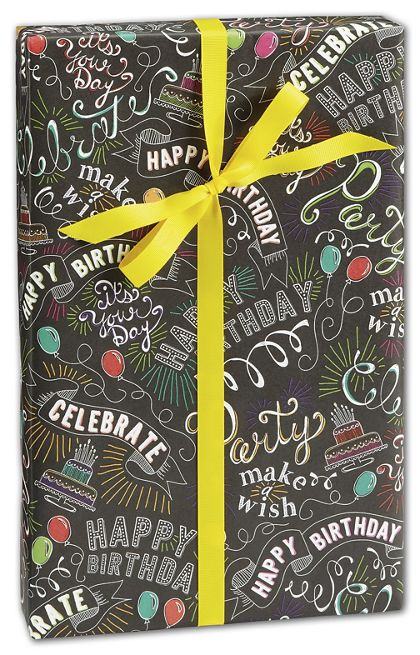 "Birthday Chalk Gift Wrap, 30"" x 208'"