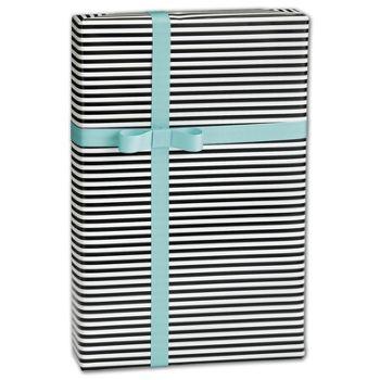 Black & White Stripe Gift Wrap, 30