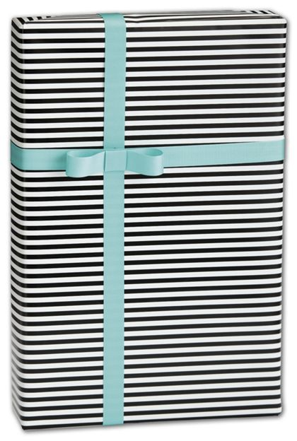 "Black & White Stripe Gift Wrap, 30"" x 417'"