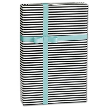"Black & White Stripe Gift Wrap, 30"" x 208'"
