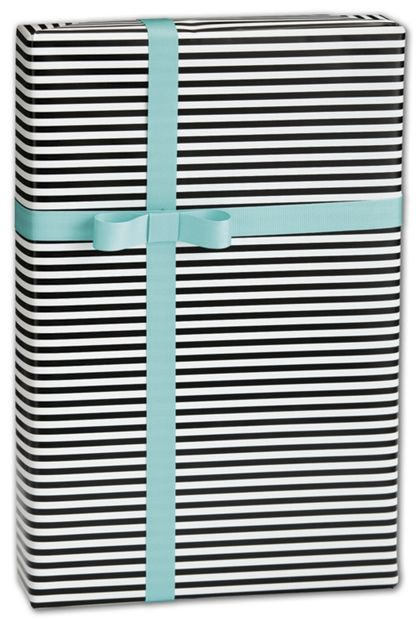 "Black & White Stripe Gift Wrap, 30"" x 208'"