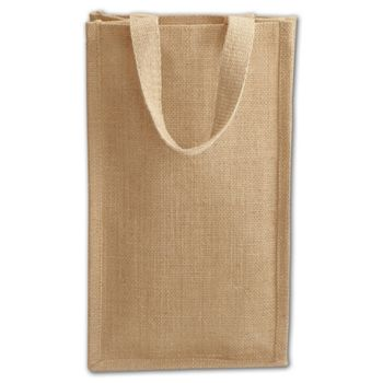 Tan Natural Jute Two Bottle Wine Bags, 8 x 4 x 14