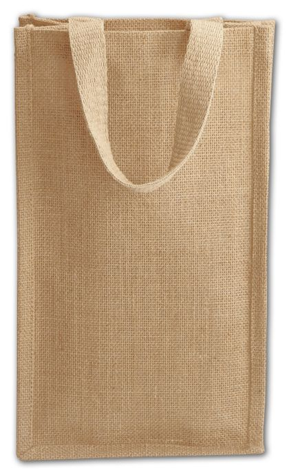 Tan Natural Jute Two Bottle Wine Bags, 8 x 4 x 14""