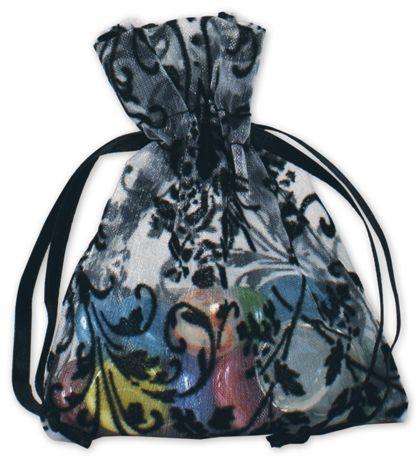 """White Damask Organza Bags, 3 x 4"""""""
