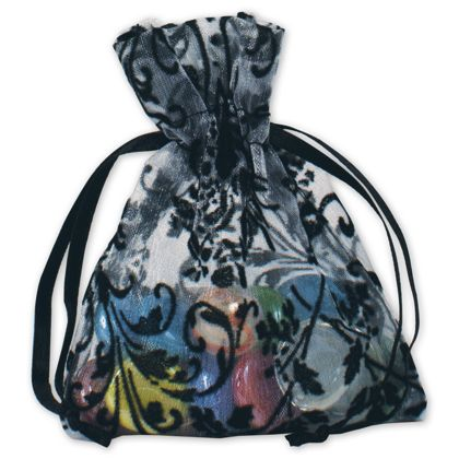 White Damask Organza Bags, 3 x 4