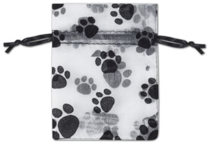 "Paw Print Sheer Bags, 3 x 4"""