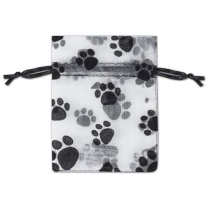 Paw Print Sheer Bags, 3 x 4